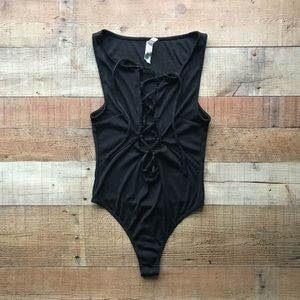 Free People Laced Bodysuit Thong Ribbed Sz XS